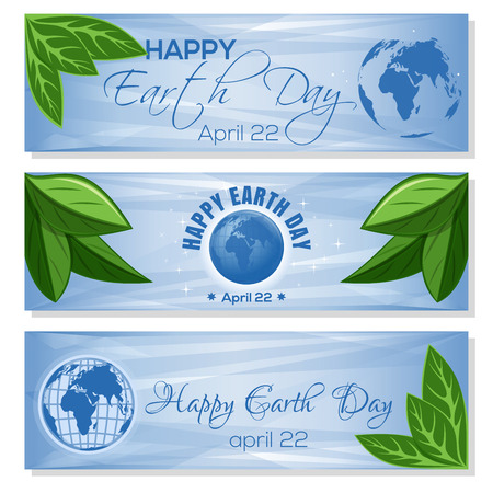 Set light blue banners for Earth Day with globe, green leaves and greeting inscription. Happy Earth Day. April 22. Vector illustration