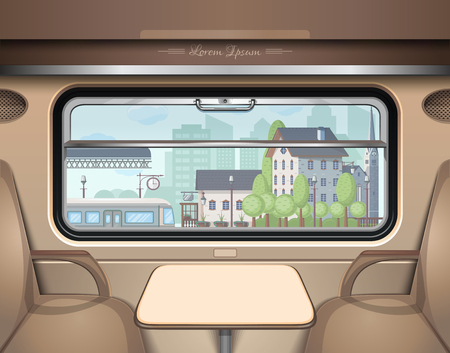 Illustration pour View of the railway station from the train window. Travel and transportation by train Vector illustration - image libre de droit