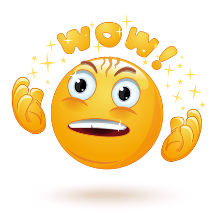 Cute enraptured emotions emoji. Emoticon face surprised. Emoji excited with admiring look and googly eyes saying Wow. Emotion raises his hands in admiration. Vector illustration