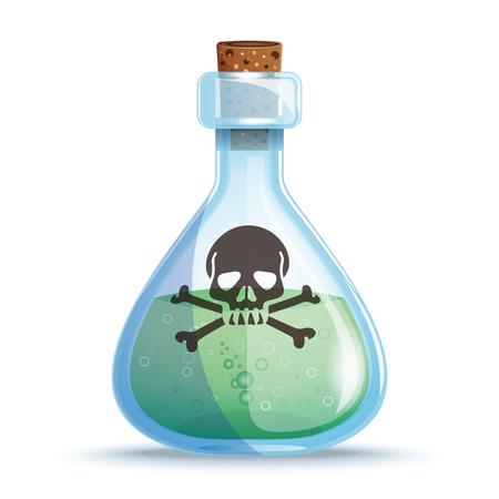 Illustration pour Glass bottle with green liquid. Vector icon - image libre de droit
