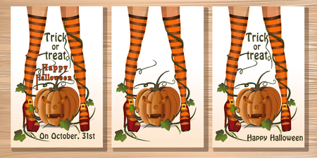 Set Halloween card with sexy witch legs