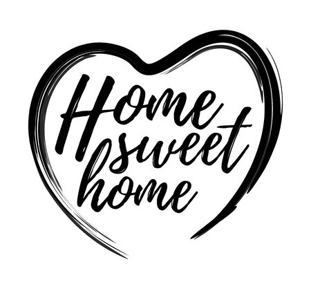 Illustration for Lettered phrase Home Sweet Home inside the heart - Royalty Free Image