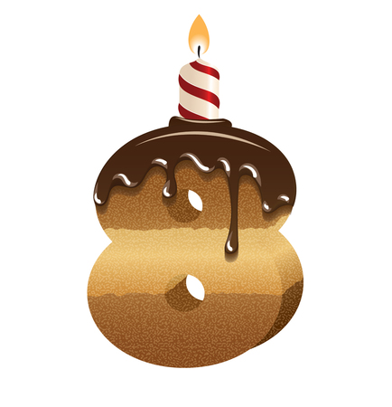 Birthday cake font - number eight