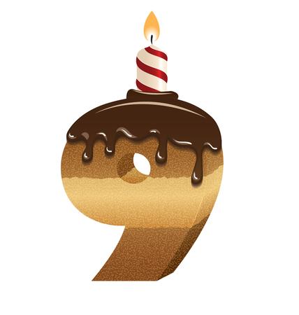Birthday cake font - number nine