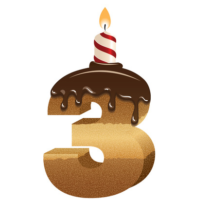 Birthday cake font - number three