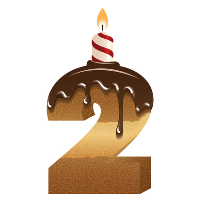 Birthday cake font - number two