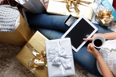 Woman shopping online at Christmas