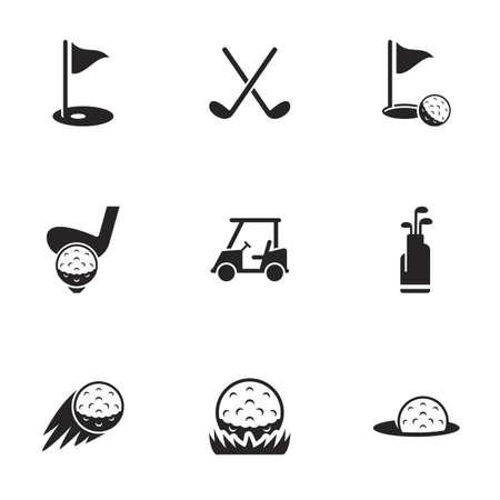 Illustration pour Icons for theme golf, vector, icon, set. White background - image libre de droit