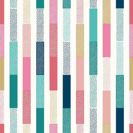 Illustration pour seamless doodle dots vertical stripes patchwork pattern - image libre de droit