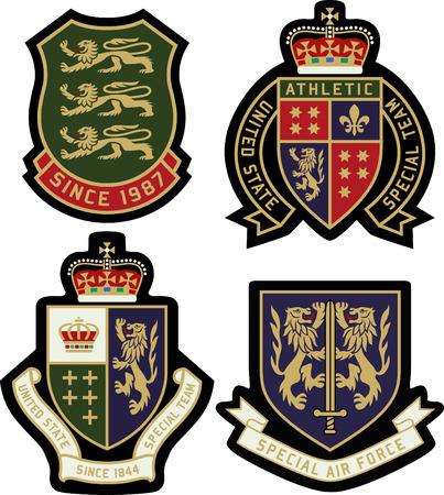 Ilustración de classic heraldic royal emblem badge shield - Imagen libre de derechos