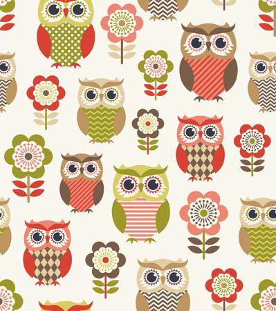 Ilustración de seamless owl birds repeated pattern - Imagen libre de derechos