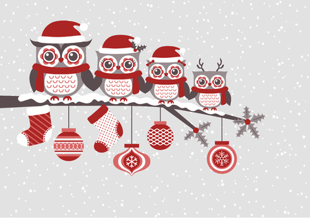 cute owls christmas seasonal illustrationのイラスト素材