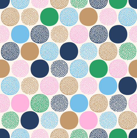 Illustration pour seamless childish abstract colorful dots pattern on white background. - image libre de droit