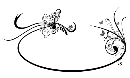 Oval frame with Abstract Floral motif