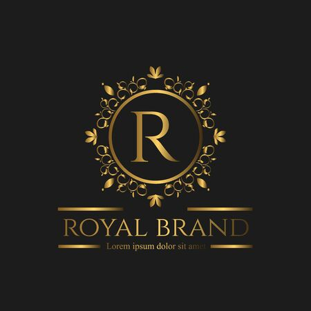 Illustration for Logo Luxury with Golden Color. Royal brand for luxurious corporate - Royalty Free Image