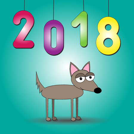 2018 year of dog vector illustration with colorful numbers on blue background and cartoon doggy