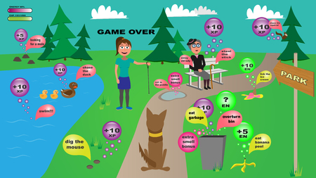 Illustration pour funny vector illustration of naughty dog in the park with waste bin, old lady, ice cream, pond and animals - image libre de droit