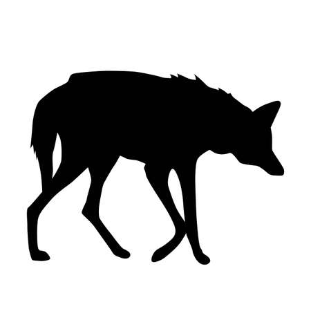 Illustration pour maned wolf form side silhouette, vector isolated on white background - image libre de droit