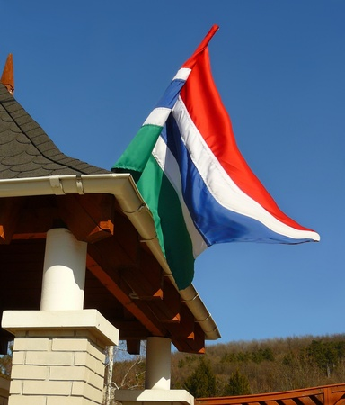 The flag of Gambia, in Budapest, Hungary
