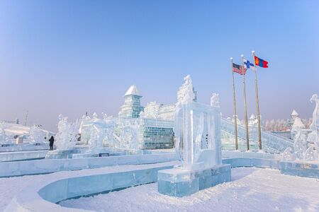 Foto für HARBIN, CHINA - JAN 15, 2020: Harbin International Ice and Snow Sculpture Festival is an annual winter festival that takes place in Harbin. It is the world largest ice and snow festival. - Lizenzfreies Bild