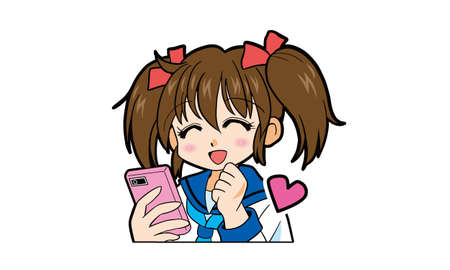 Illustration for Cartoon of a Japanese girl in uniform with twin tails operating a smartphone - Royalty Free Image