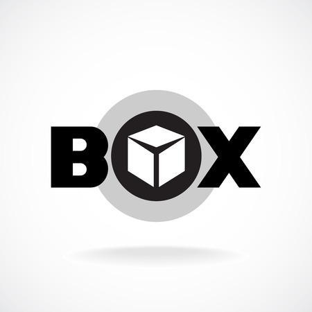Box word sign with simple image of a box.