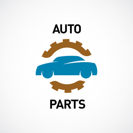 Auto parts logo template. Car silhouette with gear sign.