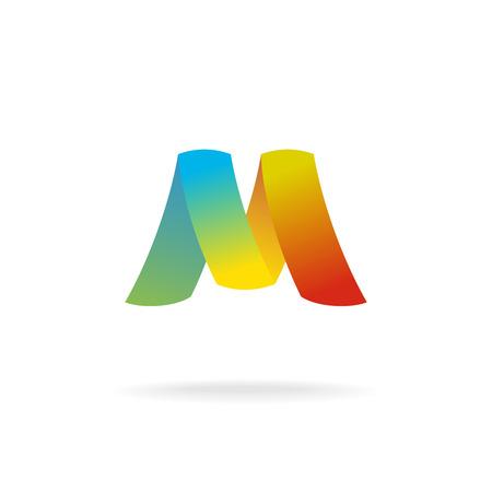 M letter logo template. Colorful elegant ribbons.