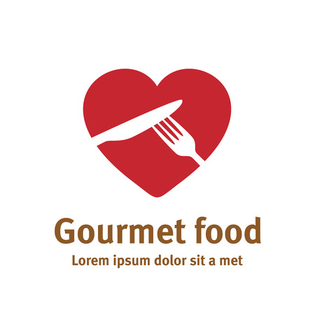Lovely food logo template. Fork and knife silhouettes with heart shape background.