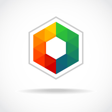 Hexagon with color triangles sign. Abstract logo template.のイラスト素材