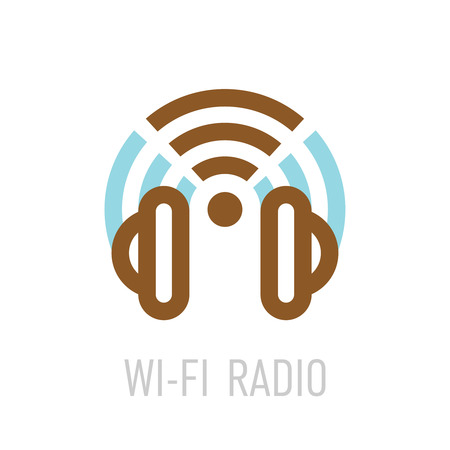 Wireless internet radio logo template with headphones and wifi sign.