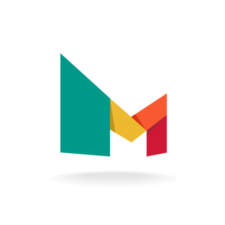 Letter M logo template. Origami colorful style.