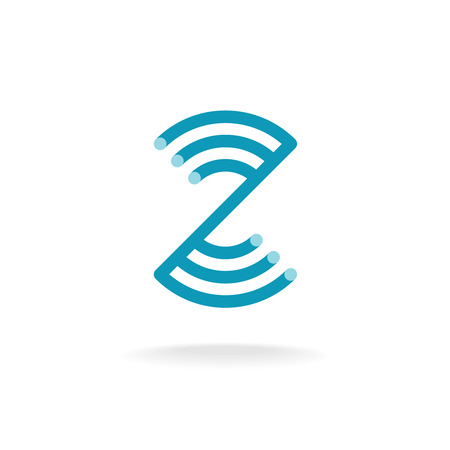 Letter Z technical logo template. Mounting round lines.