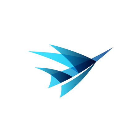 Abstract airplane stylized. Sign of a blue bird rise up.