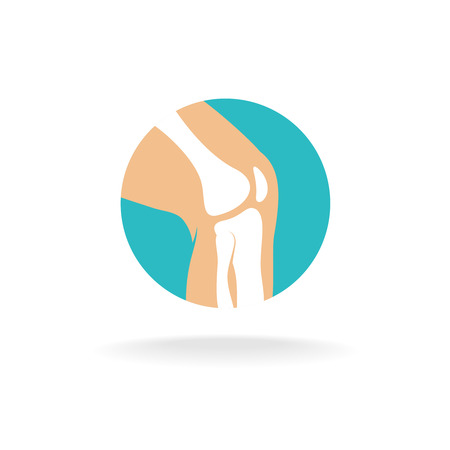 Round symbol of knee joint bones for orthopedic purposes.