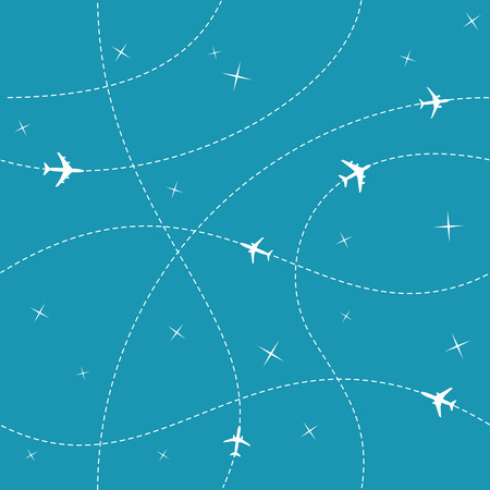 Illustration for Planes with trajectories and stars on the blue sky seamless vector background. Easy color change provided. - Royalty Free Image