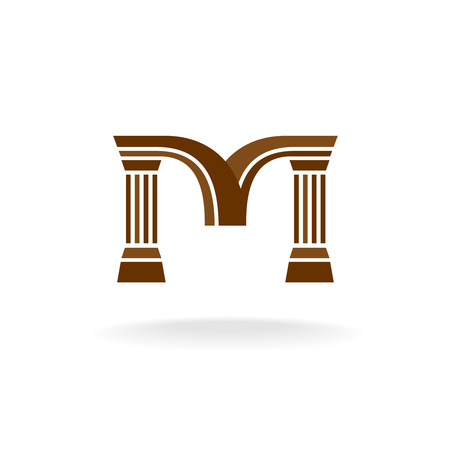 Letter M logo with columns. Architecture, business, lawyer concept.