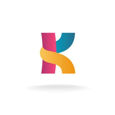 Letter K logo template. Colorful ribbons sign.
