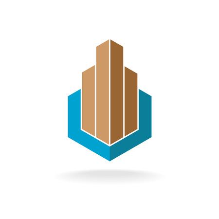 Illustration pour Building or real estate logo template. Skyscrapers in a hexagonal frame. - image libre de droit