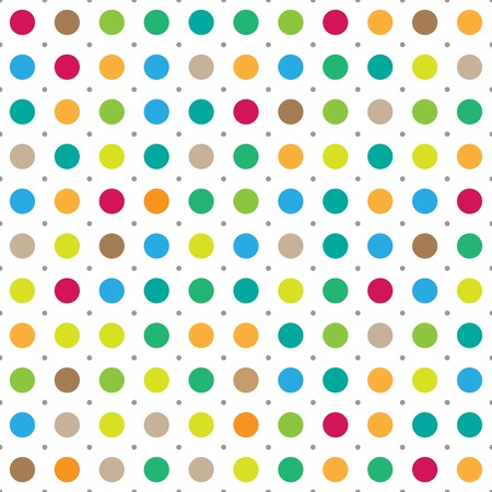 Colorful seamless polka dots vector background
