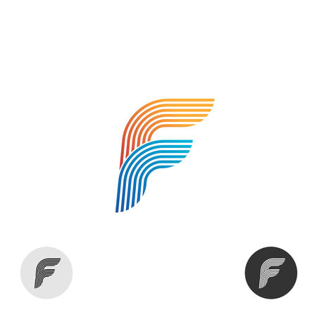 Letter F color multi linear style logo. Bags shop logo template. Letter F  logo. Elegant smooth lines color ribbon ... 0dd02317ac60