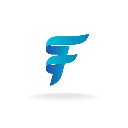 Letter F logo. Elegant smooth lines color ribbon style.