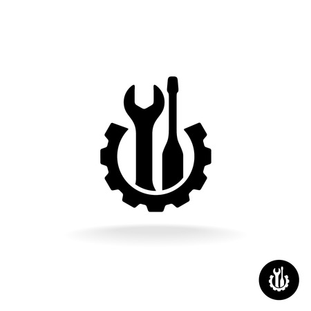 Gear with wrench and screwdriver technical repair service icon