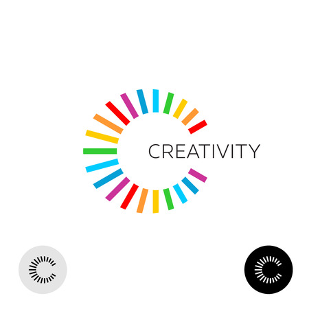 Letter C creative colorful logo template. Ray rainbow lines burst style.