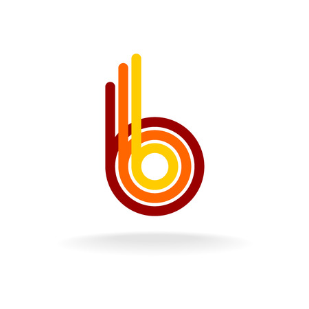 Letter B retro style icon. Color line ribbons style.