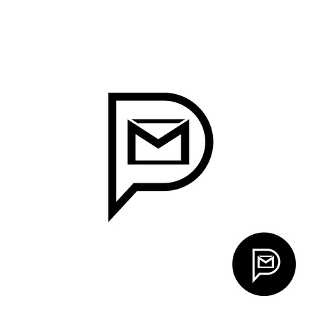 PM letters logo. Private message abbreviation with speech bubble and mail envelope shape. Black outline style.