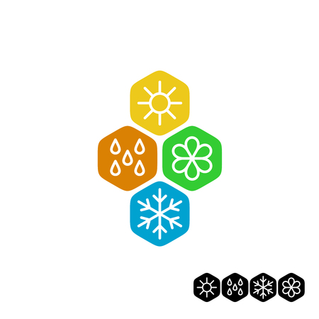 Ilustración de All season symbol. Winter snowflake, spring flower, summer sun, autumn rain weather signs. Linear style. - Imagen libre de derechos