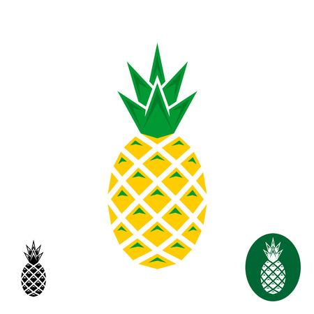 Ilustración de Pineapple . Geometric sharp corners style . Color and monochrome versions. - Imagen libre de derechos