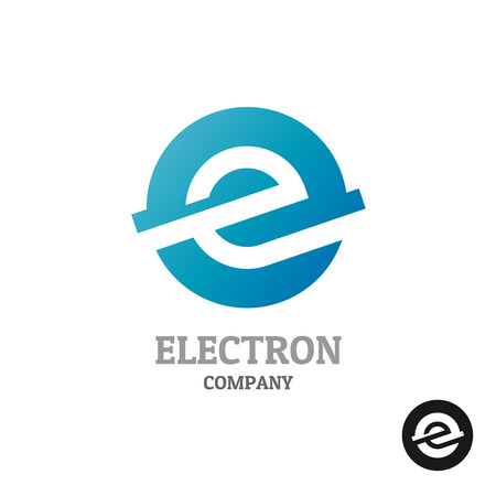 Letter E .Industrial tech style in a blue round sphere concept.