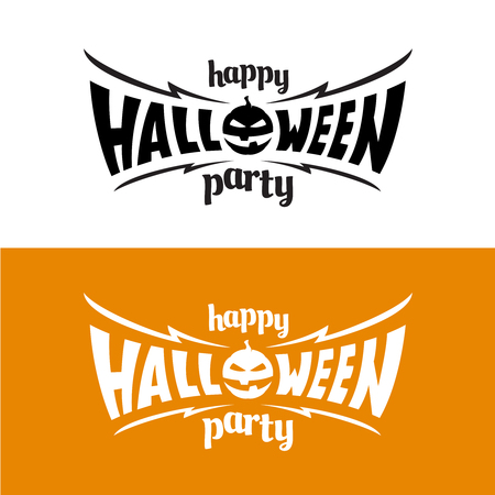 Happy hallowen party title template. Bat wings shape with evil pumpkin.
